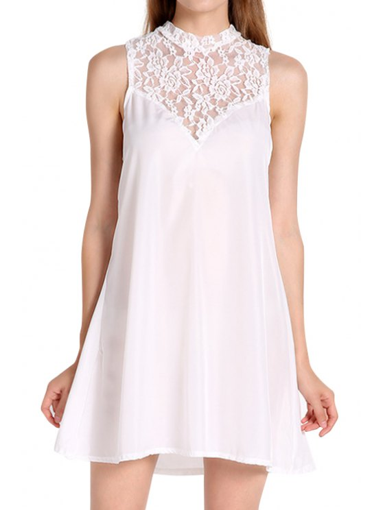 buy Round Neck Openwork Lace Splicing Dress - WHITE M