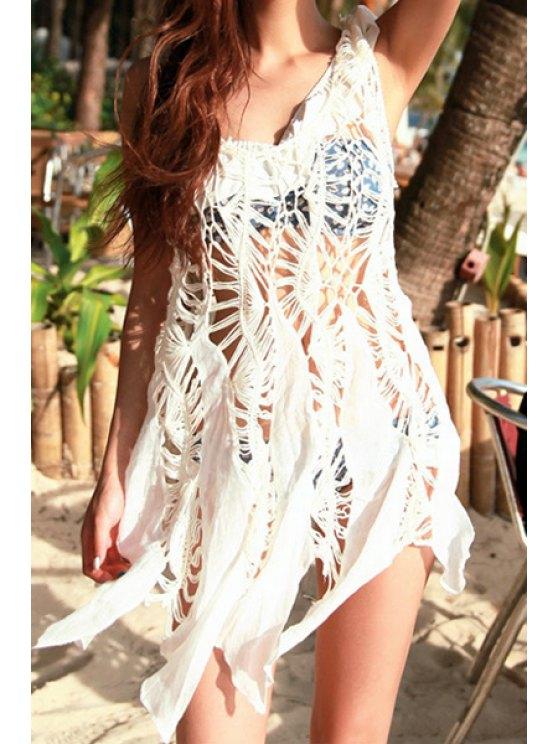 sale Hollow Irregular Hem Sleeveless Dress - WHITE ONE SIZE(FIT SIZE XS TO M)
