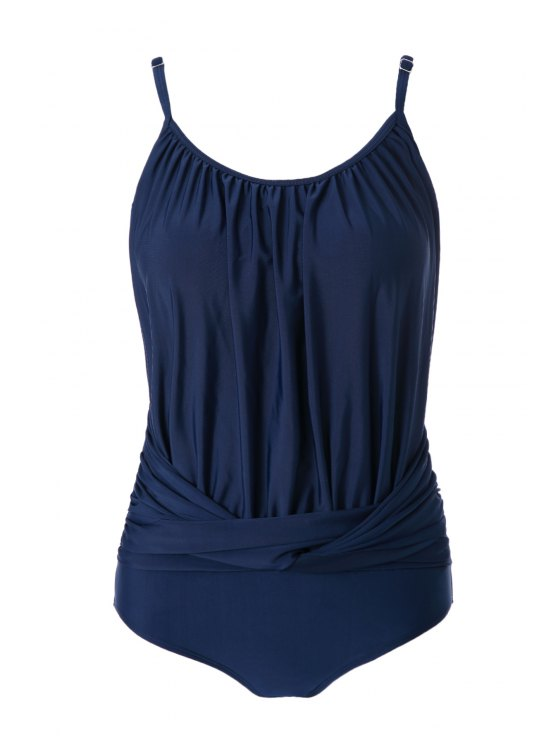 trendy Spaghetti Straps Ruched One-Piece Swimwear - BLUE S