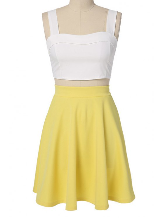 latest Solid Color Back Zipper Tank Top + A-Line Skirt - YELLOW S