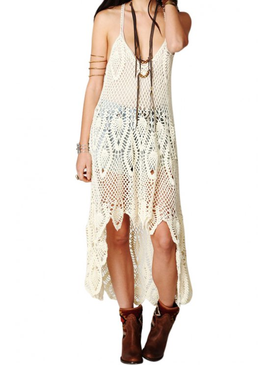 affordable Crochet Hollow Spaghetti Straps Dress - WHITE ONE SIZE(FIT SIZE XS TO M)