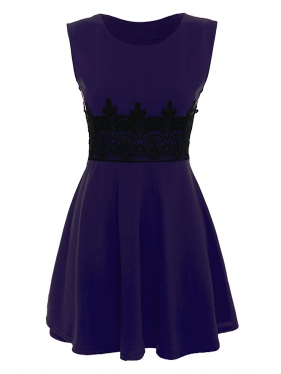 online Black Lace Splicing Sleeveless Dress - PURPLE M