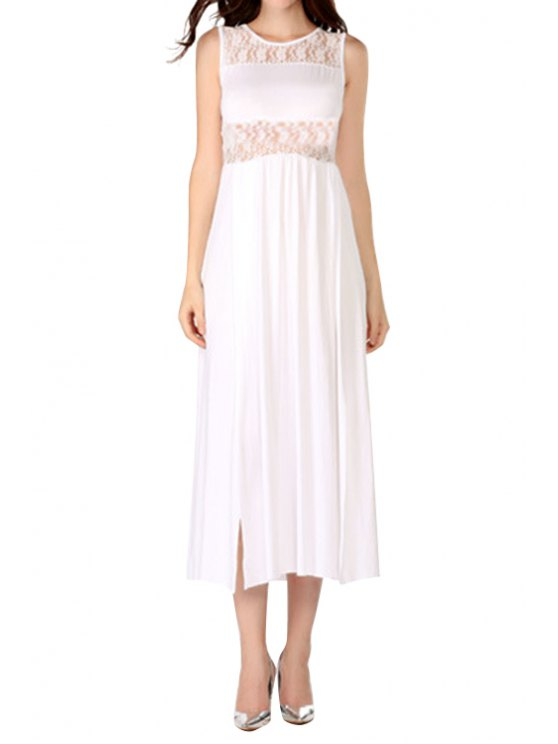 hot Lace Splicing Slit Openwork Sleeveless Dress - WHITE S