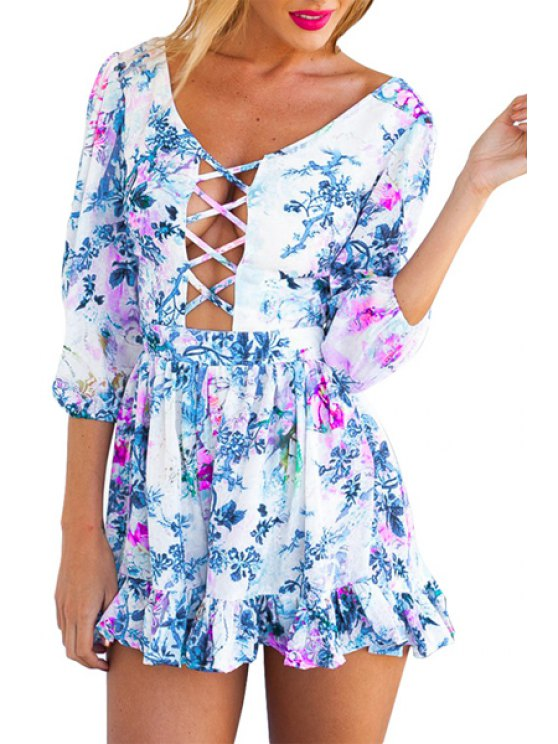 online Floral Print Openwork Backless Tie-Up Dress - BLUE M