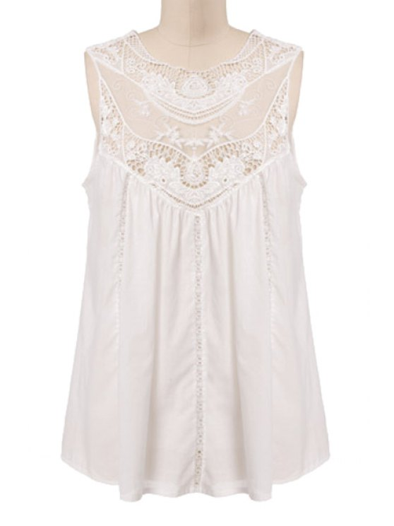 chic Solid Color Lace Splicing Openwork Dress - OFF-WHITE S