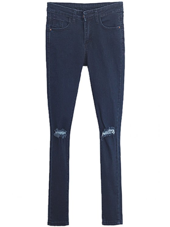 chic Broken Hole Low Waisted Skinny Jeans - PURPLISH BLUE 26