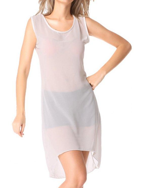 sale See-Through Lace Splicing Asymmetrical Dress - WHITE M
