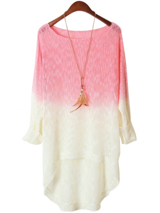 lady Pink Spliced Long Sleeve Knitwear - SHALLOW PINK ONE SIZE(FIT SIZE XS TO M)