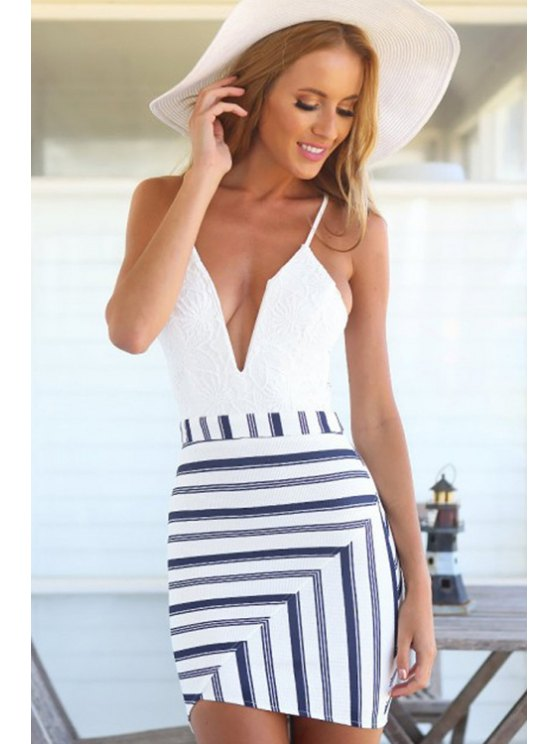 outfits Spaghetti Strap Openwork Stripe Dress - WHITE S