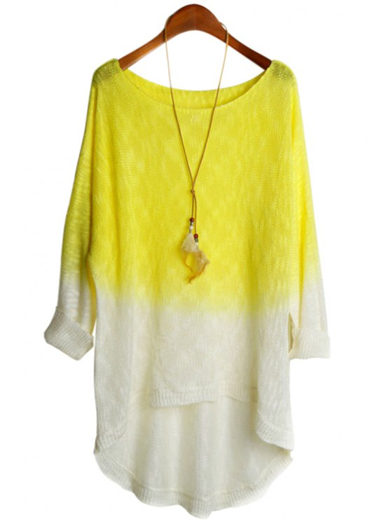 online Yellow Spliced Long Sleeve Knitwear - YELLOW ONE SIZE(FIT SIZE XS TO M)