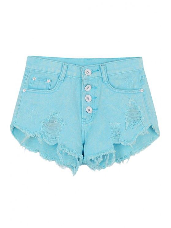 sale Azure Broken Hole Denim Shorts - AZURE S