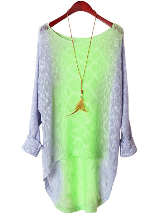 hot Long Sleeve Color Block Knitwear - GREEN ONE SIZE(FIT SIZE XS TO M)