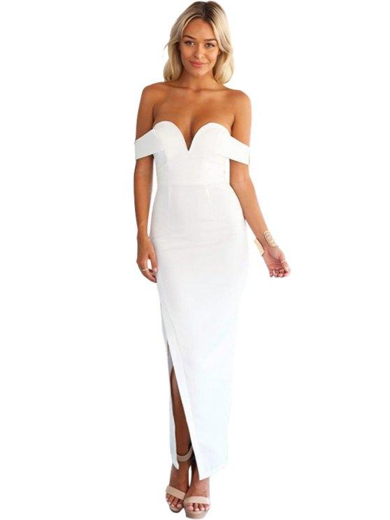 unique Strapless Solid Color Slit Dress - WHITE S
