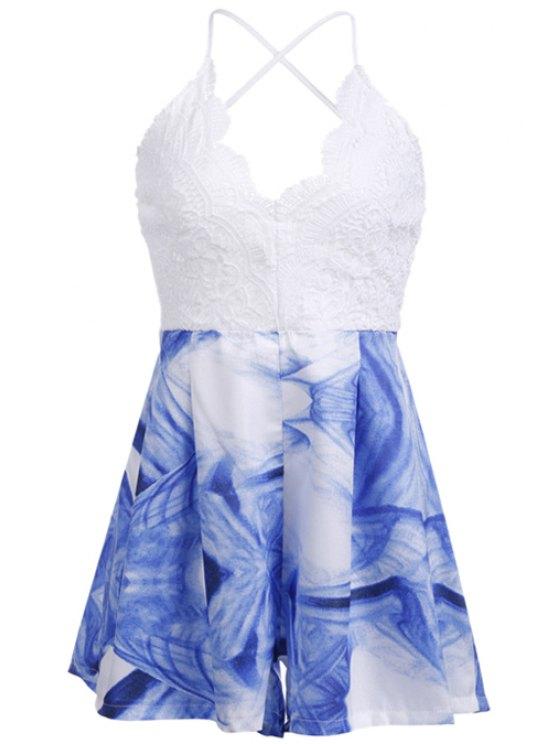 shop Blue Floral Print Lace Backless Romper - LAKE BLUE S