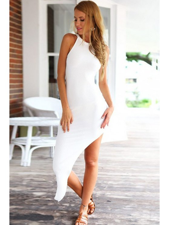 buy Solid Color Asymmetrical Sleeveless Dress - WHITE S