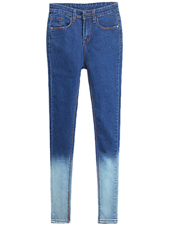womens Color Block Skinny Jeans - BLUE 30