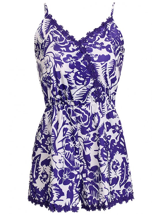 trendy Floral Print Lace Splicing Sleeveless Romper - WHITE AND PURPLE S