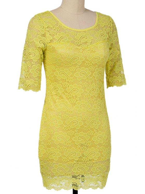 sale Backless Yellow Lace Half Sleeve Dress - YELLOW XL