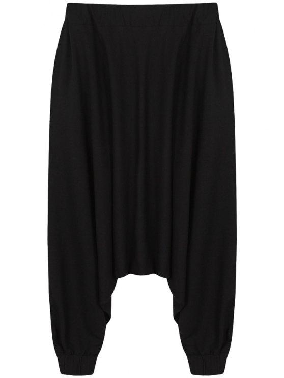 affordable Black Zipper Design Harem Pants - BLACK ONE SIZE(FIT SIZE XS TO M)