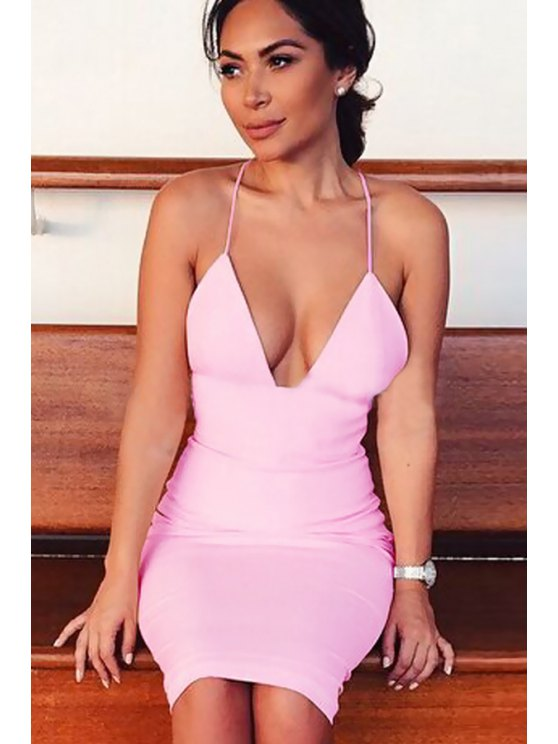 affordable Spaghetti Strap Backless Pink Dress - PINK S