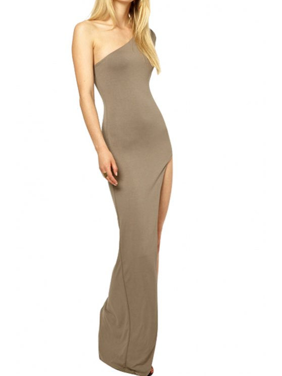best One-Shoulder Solid Color Slit Dress - KHAKI M