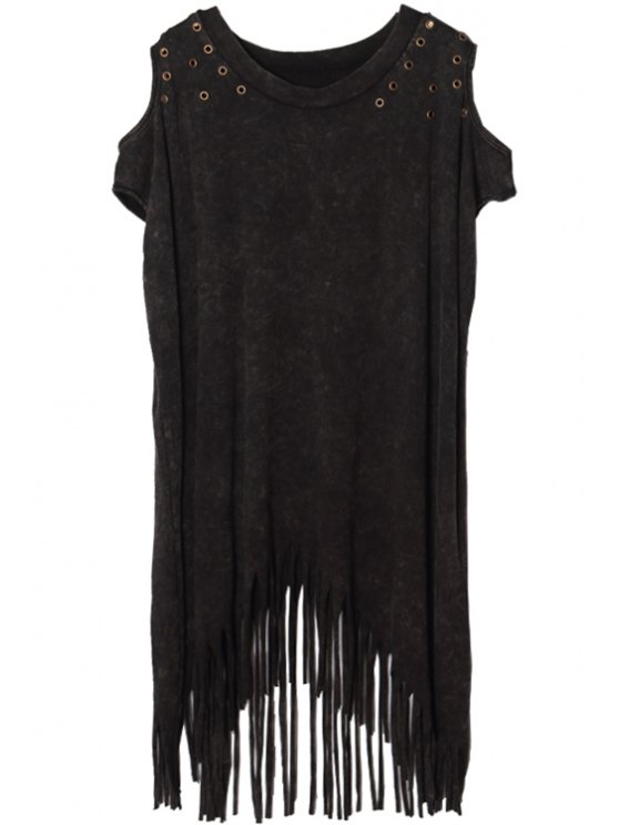 outfit Off-The-Shoulder Tassels T-Shirt - BLACK ONE SIZE(FIT SIZE XS TO M)
