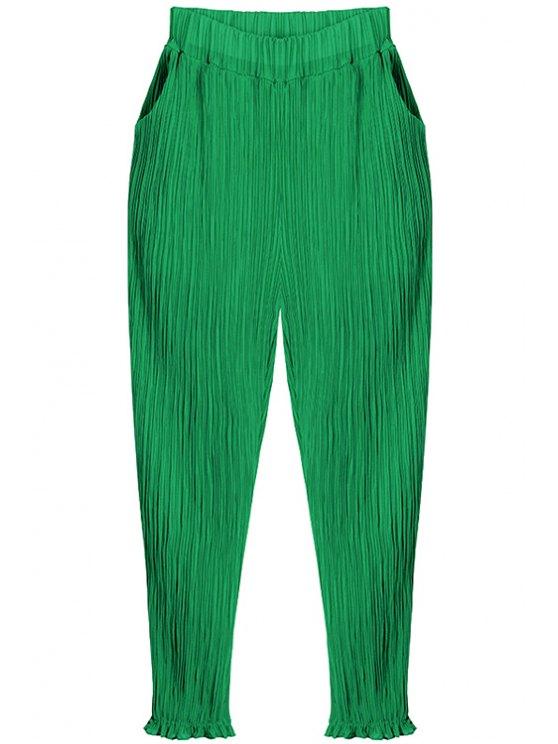 womens Pleated Chiffon Harem Pants - GREEN ONE SIZE(FIT SIZE XS TO M)