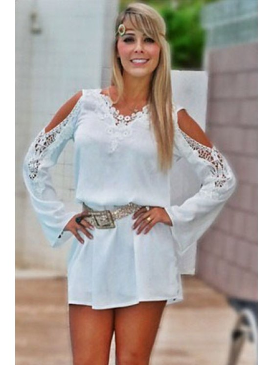 best Solid Color Lace Splicing Off-The-Shoulder Dress - WHITE S
