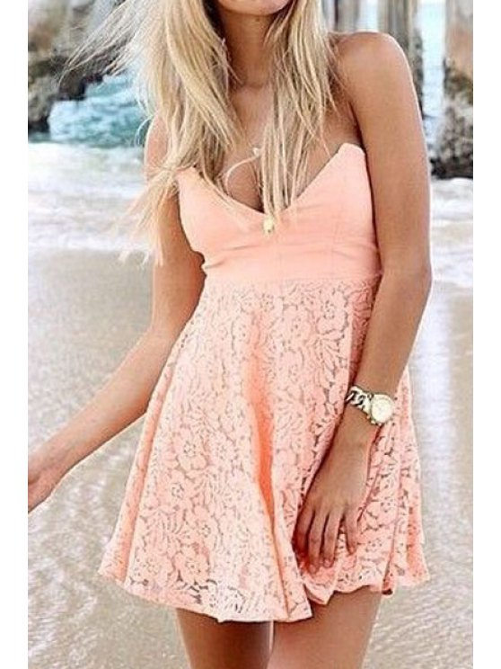affordable Strapless Solid Color Lace Splicing Dress - PINK M