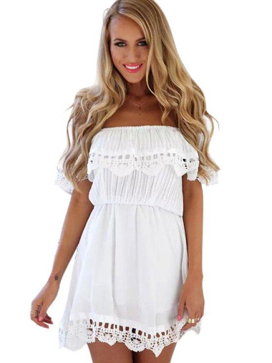 buy Ruffles Lacework Hem Slash Neck Dress - WHITE S