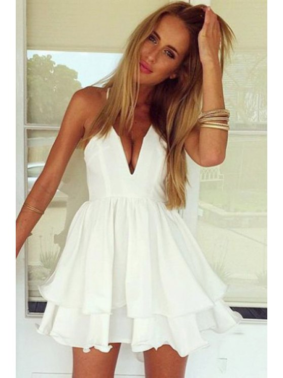 sale Solid Color Ruffle Double Layered Dress - WHITE S