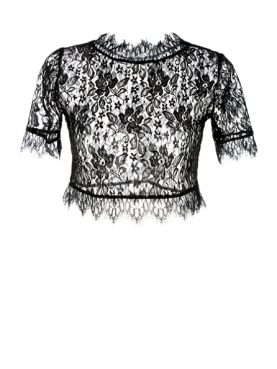 sale Floral Pattern See-Through Lace T-Shirt - BLACK S