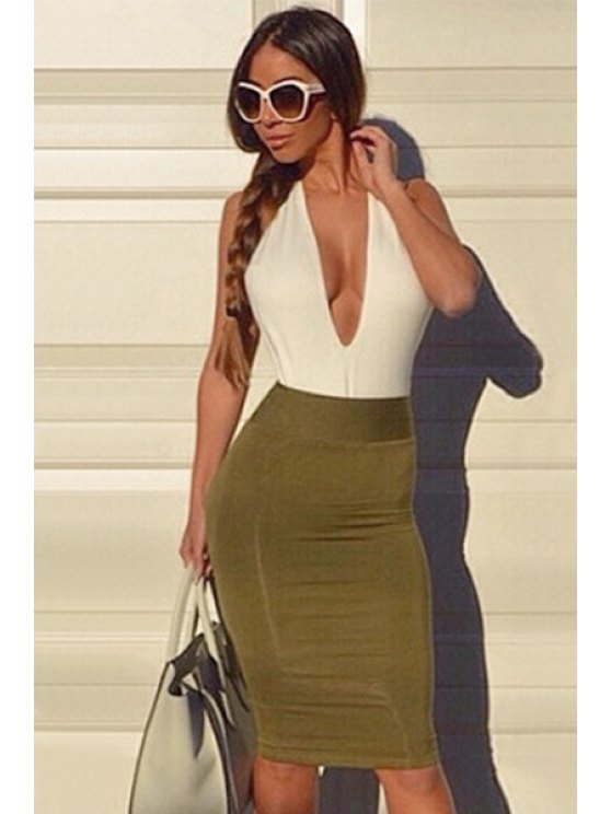 fashion Plunging Neck Backless Color Block Dress - GREEN S