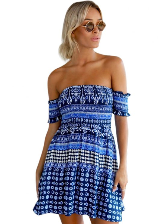 ladies Blue Ethnic Print Slash Neck Dress - BLUE S