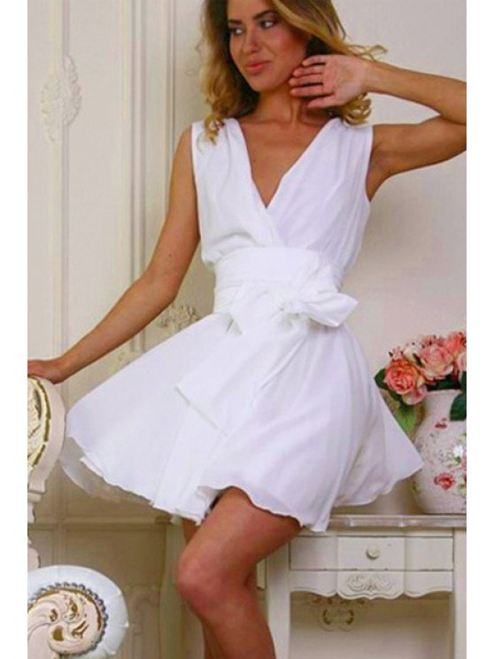 outfits Solid Color Tie-Up Chiffon Sleeveless Dress - WHITE M