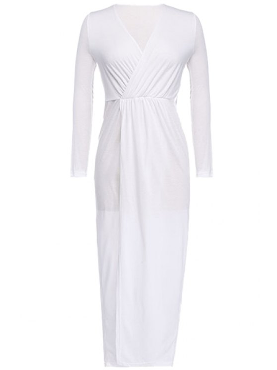 shops White Plunging Neck Maxi Dress - WHITE S