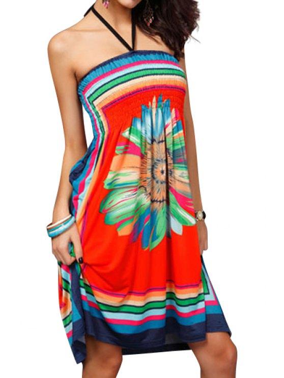 women Floral Print Colorful Stripe Sleeveless Dress - ORANGE M