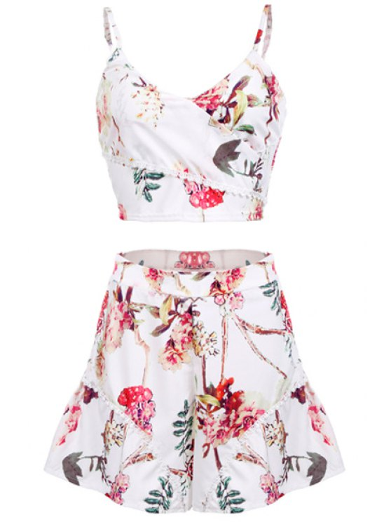 latest Floral Crop Spaghetti Straps Top and Panskirt Suit - WHITE M