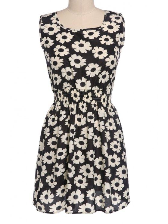 best Floral Print Elastic Waist Sleeveless Dress - BLACK S