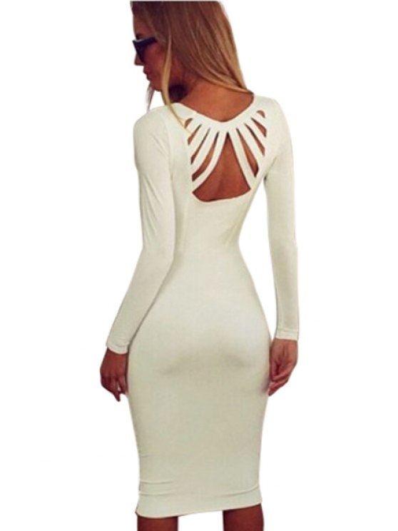 affordable White Plunging Neck Bodycon Dress - WHITE M