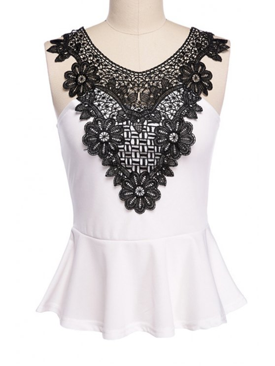 unique Scoop Neck Lace Splicing Tank Top - WHITE AND BLACK S