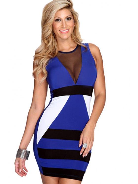unique Color Block Sleeveless Bodycon Dress - SAPPHIRE BLUE S