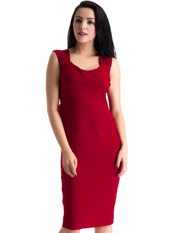womens Solid Color Sweetheart Neck Bodycon Dress - RED 2XL