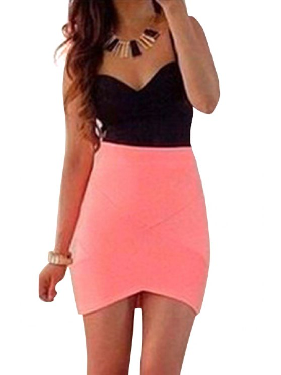 outfit Spaghetti Strap Color Block Dress - RED WITH BLACK S