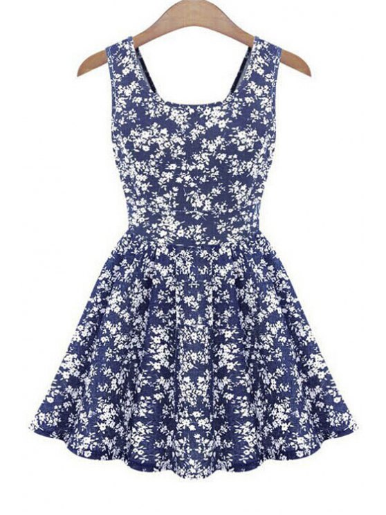 sale Tiny Floral Print Back Bowknot Dress - BLUE ONE SIZE(FIT SIZE XS TO M)