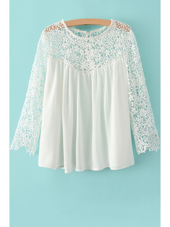 outfits Lace Splicing Openwork 3/4 Sleeve Shirt - WHITE S