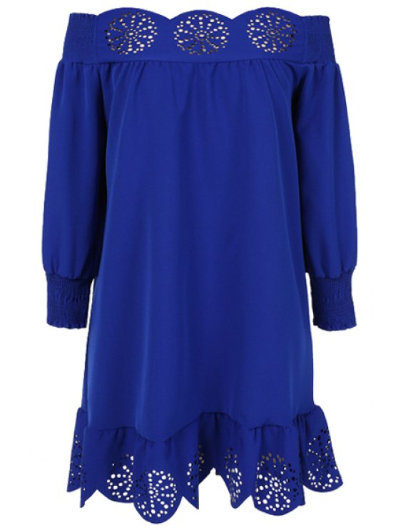 buy Slash Neck Solid Color Openwork Ruffle Dress - DEEP BLUE S