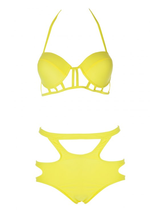 Spaghetti straps Hollow Bikini Set - Amarillo XL