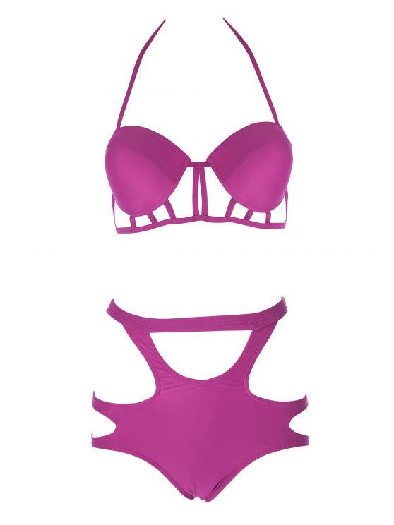 shop Caged High Rise Cut Out Bikini Set - PLUM XL