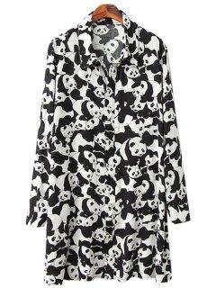 Pandas Print Long Sleeve Shirt - White And Black L